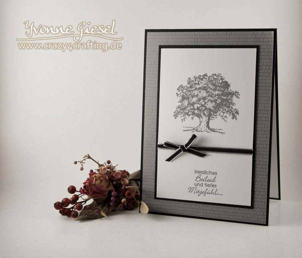 Trauerkarte mit Stempelset Lovely as a Tree und Perfekte Pärchen Hintergrund Designerpergament Pflanzen-Potpourri