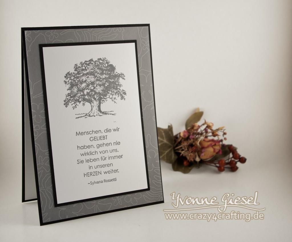 Trauerkarte mit Stempelset Lovely as a Tree und Mit tiefstem Mitgefühl Hintergrund Designerpergament Pflanzen-Potpourri